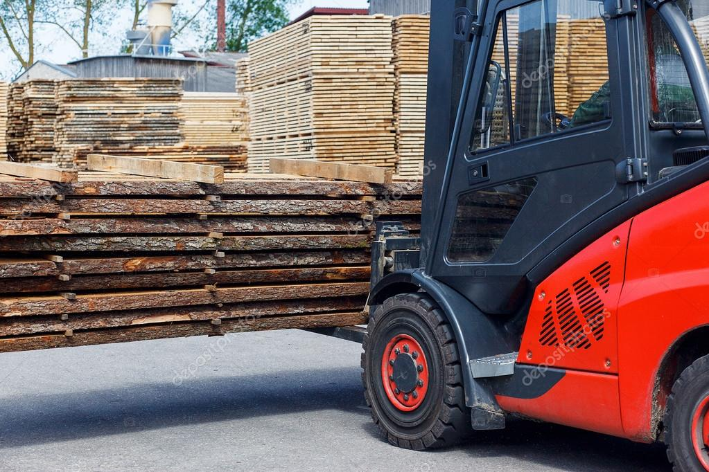 Operating Forklift Truck In Lumber Industry