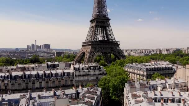 Paris, France. Close-up shot of the Eiffel tower on a drone from a height. Shooting date may 16, 2020. Eiffel tower from a height.