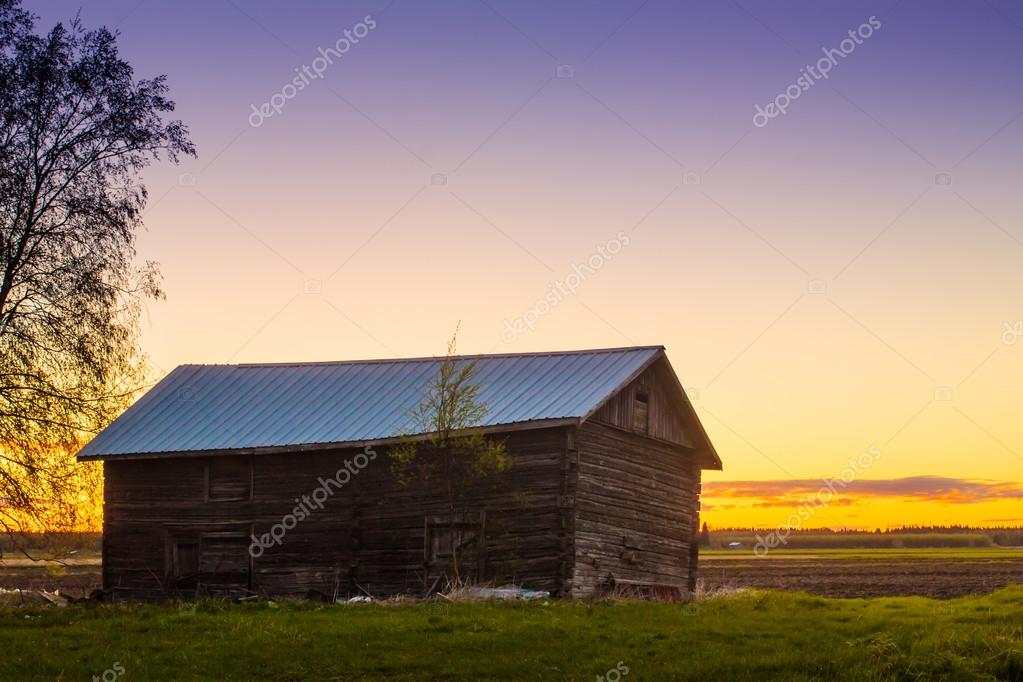 Crooked Barn House In The Sunset