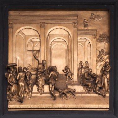 Isaac, Esau, Jacob Bronze Bas Relief - Florence Baptistery