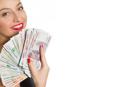 Portrait of beautiful smiling woman with money