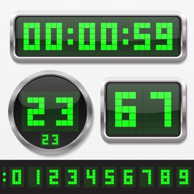 digital numbers and basic clock body shapes set.