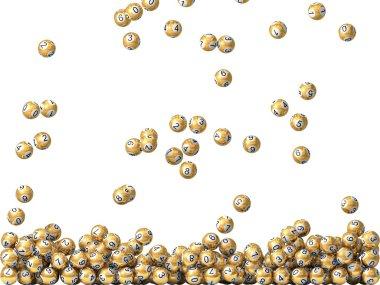 golden lottery balls rain, filling screen.