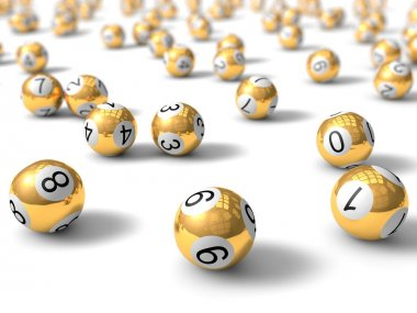 golden lottery balls with depth of field