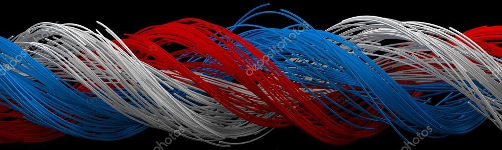 Zwirnen Quadrat geformt Drähte. blau, weiß und rot-Drähte ...