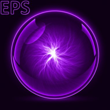 magical energy ball. energy veins from center to outside. purple