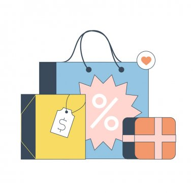Set of shopping bags and box illustrations. Vector illustration for web banner, site or application icon