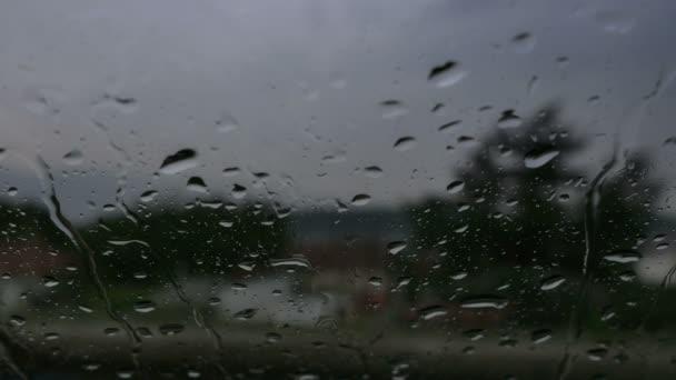 větrno dešťové kapky na okno auta 4k