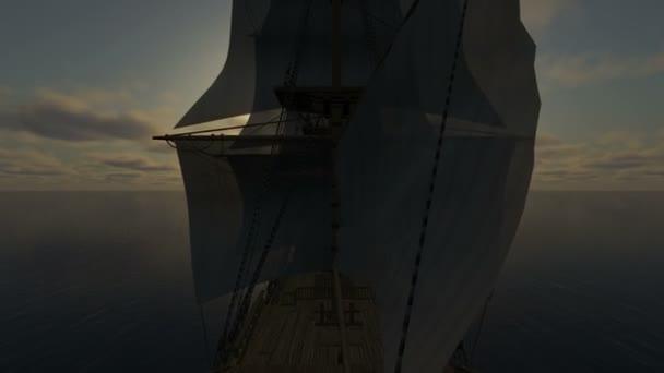 západ slunce nad oceánem a lodí
