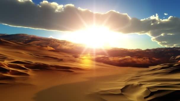 Fliegen Sie über Wüste Sonnenuntergang