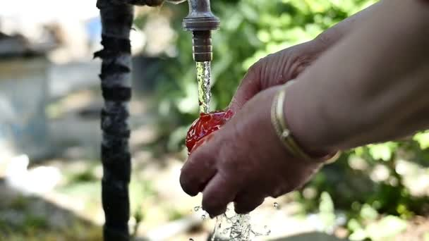Hände waschen Tomaten unter Wasser Wasserhahn