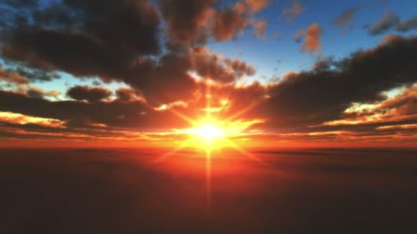západ slunce letět nad mraky