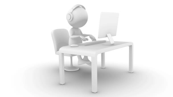 3D bílý znak, psaní na počítači. Izolované na bílý, bezešvé, včetně alfa kanál