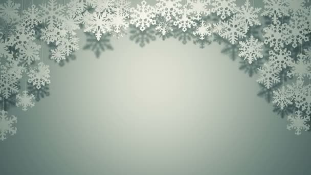 A lot of different paper snowflakes swinging Christmas card