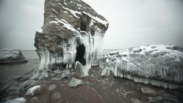 Magic frozen demolished forts ruins in Baltic sea, Liepaja, Latvia