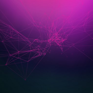 Sunset pink colors abstract background gradient. Connecting dots