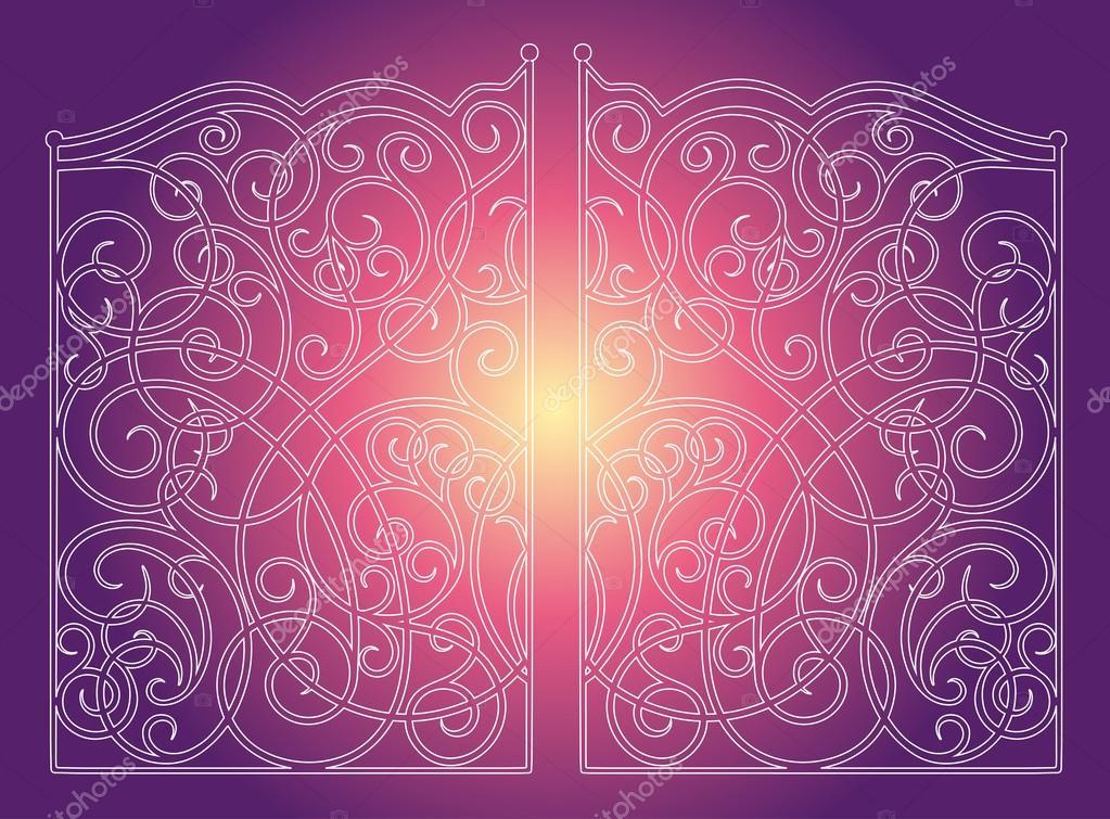 Beautiful iron ornament gates on purple pink background
