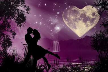 Valentine romantic atmosphere silhouettes dancing in the moonlight