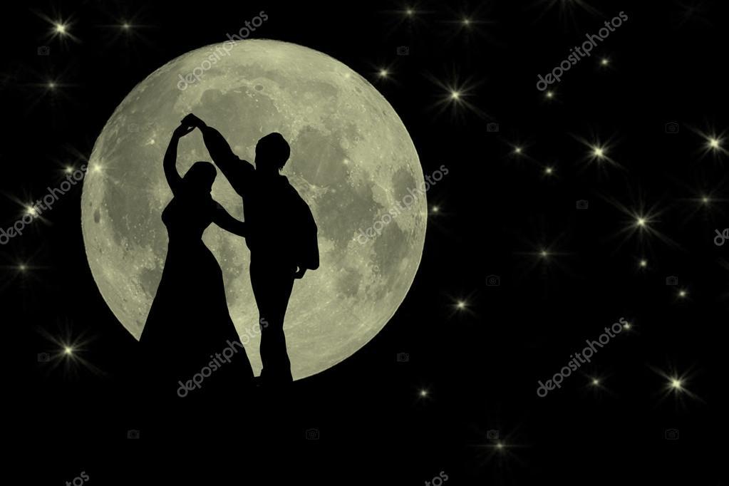 Dancing in the moonlight romantic banner