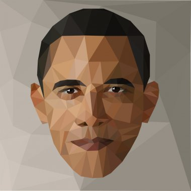 portrait Barack Obama U.S. president low poly USA