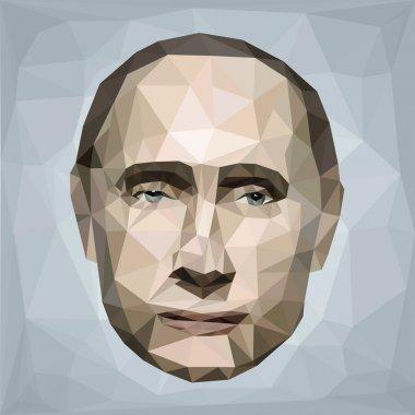 Portrait Vladimir Putin president Russia low poly