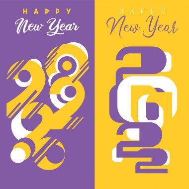 Set of 2 greeting cards on 2022 New Year background designs