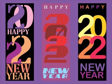 Set of three abstract vector illustration of 2022 New Year designs on a simple flat color background