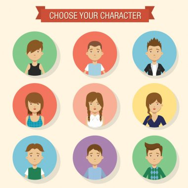Flat character icons.