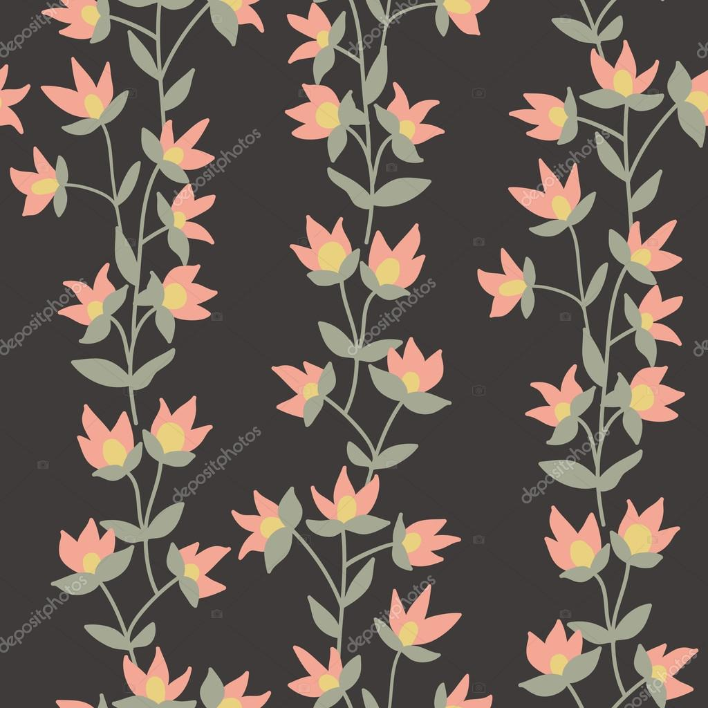 Floral vector pattern. Seamless doodle flowers.