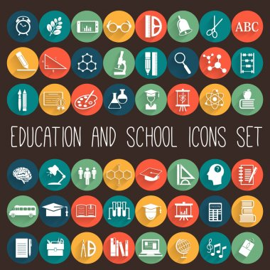 Education School Colored Flat Icon Set. stock vector