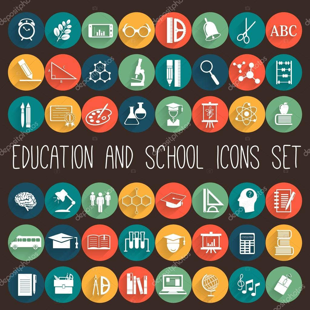 Education Flat Icon Set