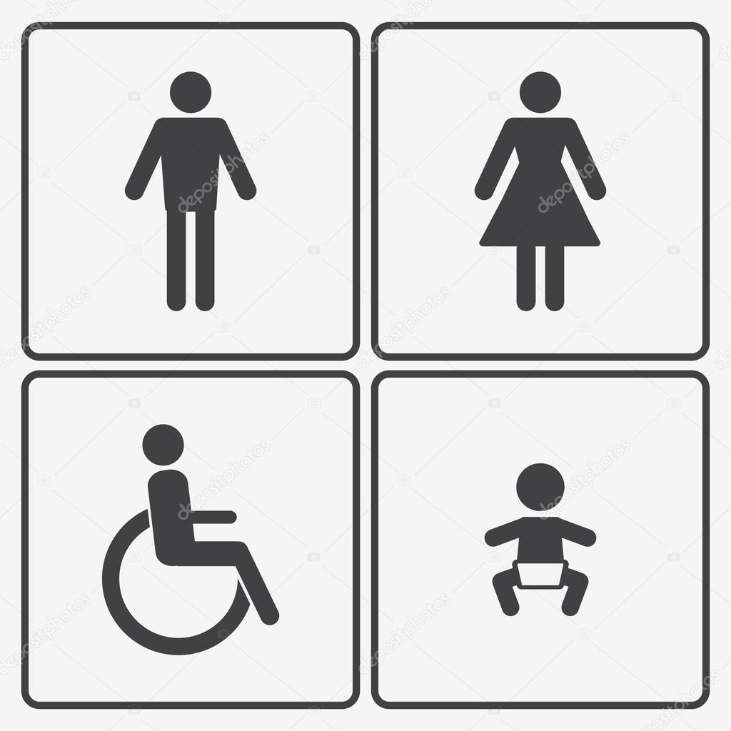 vettoriale icone bagno: donna, uomo, bambino e disabilità ...