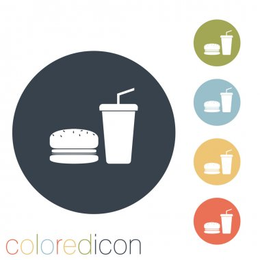 Burger and paper cup icon