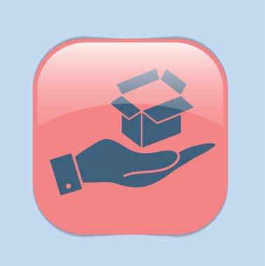 Hand holding   box icon