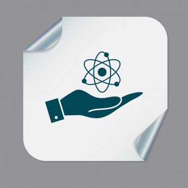Hand holding the atom, molecule
