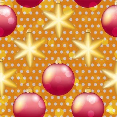 Christmas balls and stars pattern