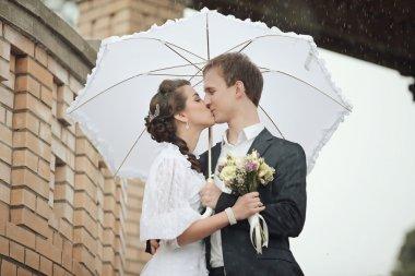 Portrait of young man and woman retro wedding studio stock vector