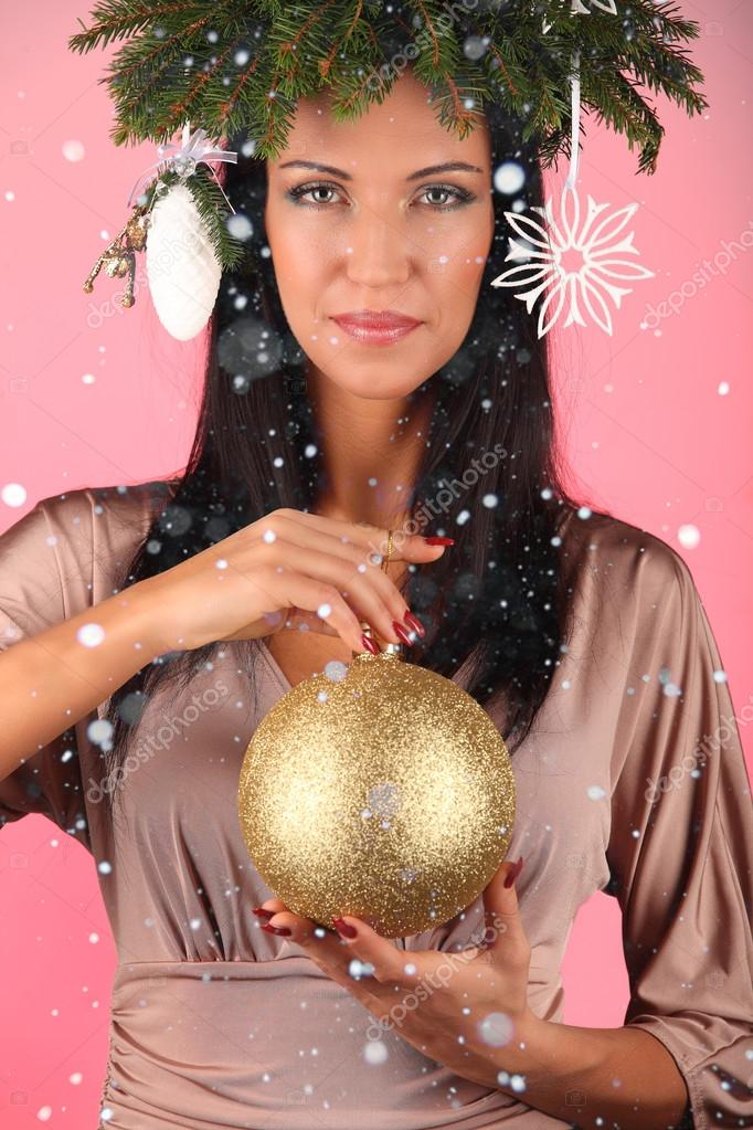 Christmas Hairstyles For Black Girls.Beauty Fashion Model Girl With Christmas Tree Hairstyle Pink
