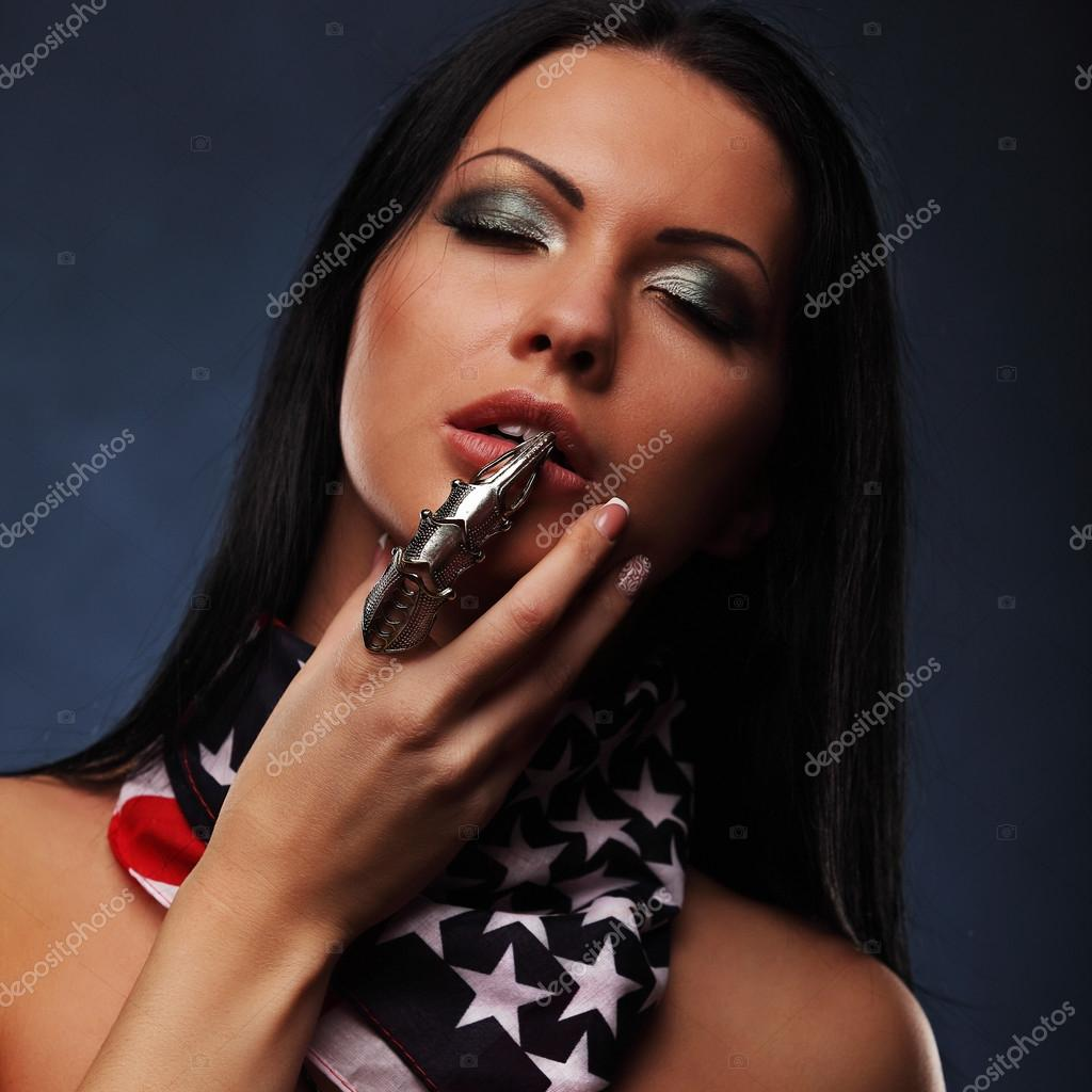 American Beauty Topless portrait of sexy topless girl with weapon and american flag