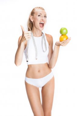Healthy smiling girl on diet.