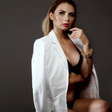 Sexy businesswoman in lingerie.