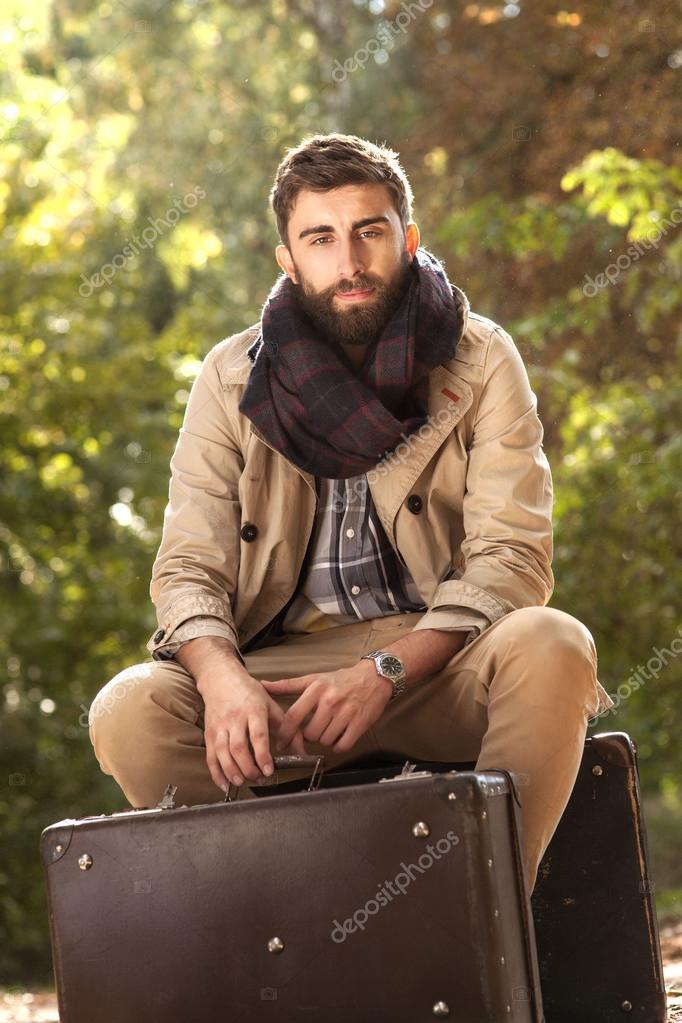 Fashionable Men Posing Outdoor Stock Photo