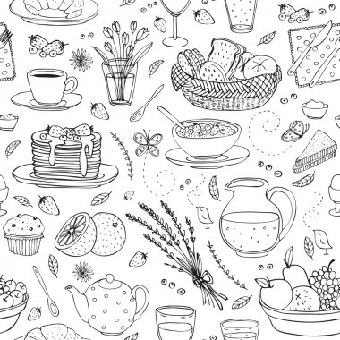 vector seamless pattern with various breakfast items