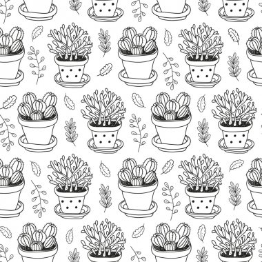 vector hand drawn seamless pattern with home plants