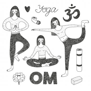vector hand drawn set with cute girls doing yoga