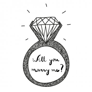 hand drawn vector engagement ring with text will you marry me