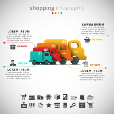 Illustration of shopping infographic made of trucks. stock vector