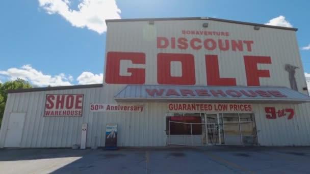 Richmond County, Ga USA - 04 25 21: Pan of Bonaventure urban Discount Golf Warehouse in Augusta Georgia