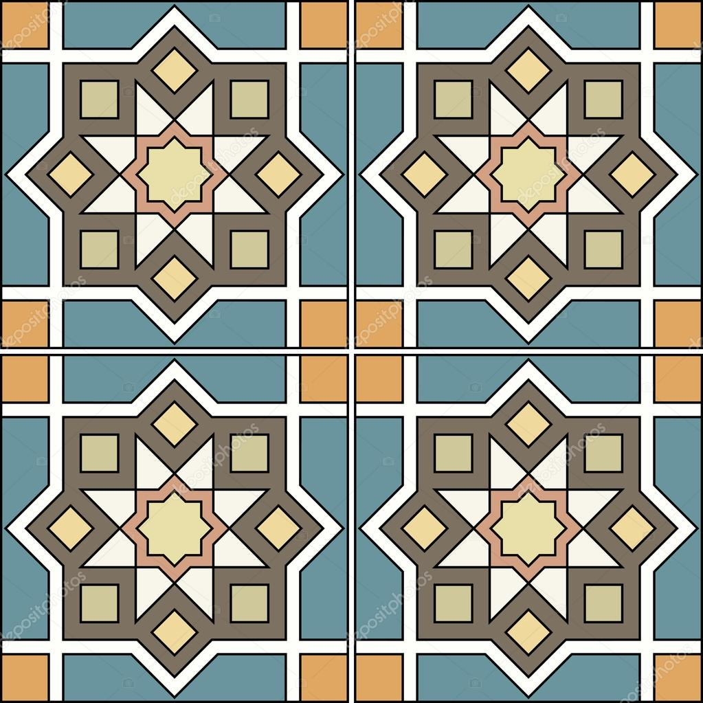 Gorgeous seamless patchwork pattern from colorful Moroccan tiles, ornaments.