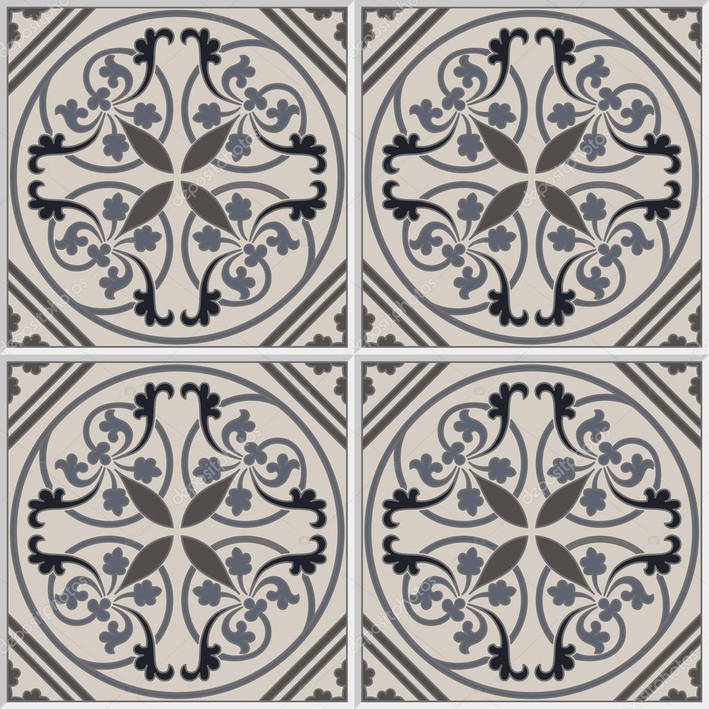 Portuguese tiles seamless pattern. Vintage background - ceramic tile in vector